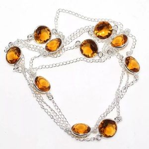 Citrine Gemstone 925 Sterling Silver Necklace